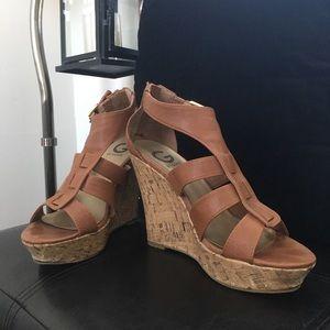 Guess wedge sandals tan colour